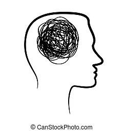 silhouette of huan head with tangled line inside, like brain...