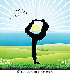silhouette of human doing yoga, sunrise background