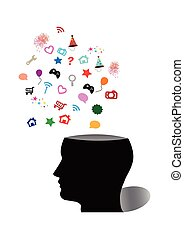 silhouette of human head and various symbol vector