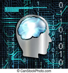 Technology background with microchip and brain. - Silhouette...
