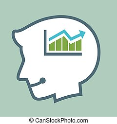 Silhouette of Human Head Thinking Provit Sales Chart
