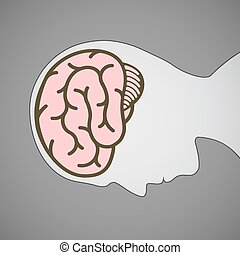 Silhouette of human head with a brain symbol