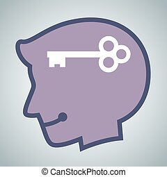 Silhouette of Human Head With A Key Icon Inside