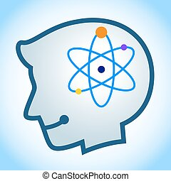 Silhouette of Human Head With Energy Symbol