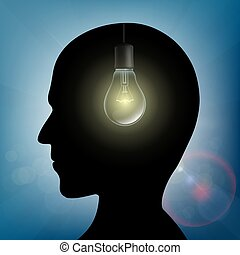 Silhouette of human head with light bulb inside. Stock...