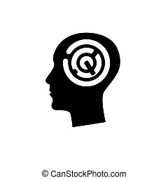 head with maze - Silhouette of human head with maze inside....