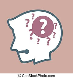 Silhouette of Human Head With Question Mark in His Head