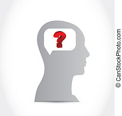Silhouette of Human Head with Question mark