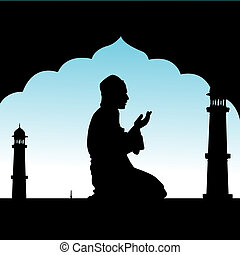 silhouette of human offering prayers at mosque