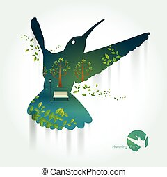 Silhouette of hummingbird with park on exotic landscape
