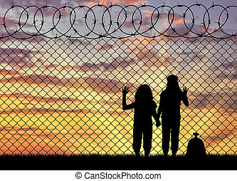 Silhouette of hungry children refugees