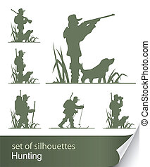silhouette of hunter vector illustration isolated on white...