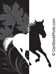 Silhouette of hurrying horse on the abstract background. Vector illustration