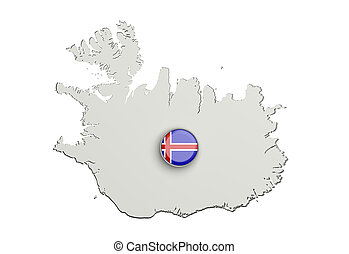 Silhouette of Iceland map with flag on button