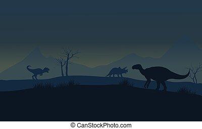 Silhouette of Iguanodon in fields