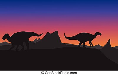 Silhouette of Iguanodon in hills