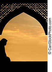 silhouette of islamic women