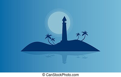 Silhouette of islands at night