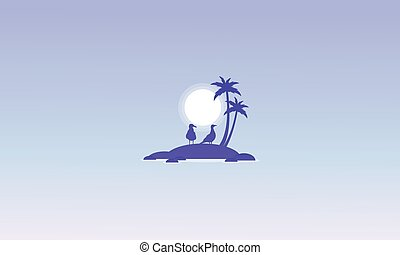 Silhouette of islands with seabird vector illustration