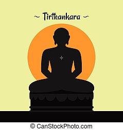 Silhouette of Jain Tirhanakara | Jain god vector | Lotus...