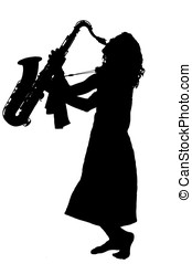 Silhouette of Jazz player - Young woman playing a tenor...