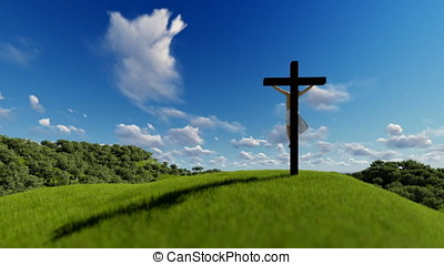 Silhouette of Jesus with Cross over blue sky, religious concept