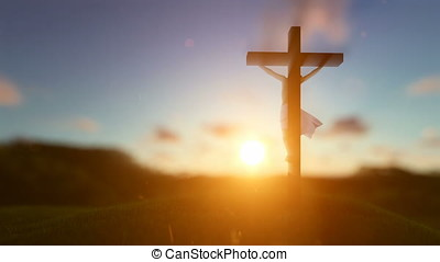 Silhouette of Jesus with Cross over sunset, blurry background, Luma Matte attached