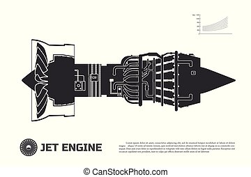 Silhouette of jet engine of aircraft