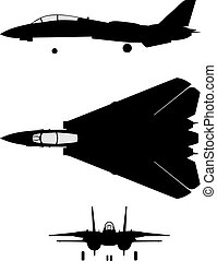 Silhouette of jet-fighter F-14
