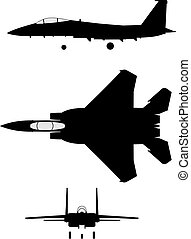 Silhouette of jet-fighter F-15