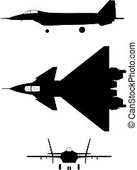 Silhouette of jet-fighter MIG-1.42