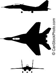 Silhouette of jet-fighter MIG-29
