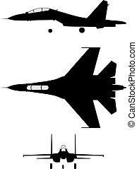 Silhouette of jet-fighter SU-30