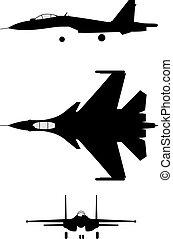 Silhouette of jet-fighter SU-35