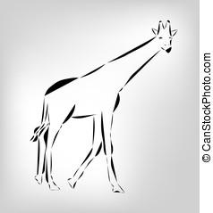 Silhouette of jiraffe