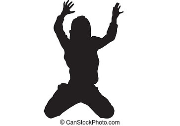 Silhouette of Jumping kid
