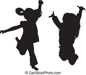 Silhouette of Jumping kids