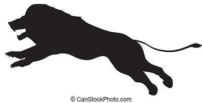 silhouette of jumping lion