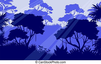 Silhouette of jungle forest scenery