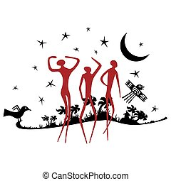 Silhouette of jungle in black color with silhouette of three people in red color - Vector image