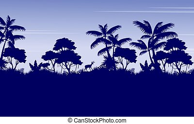 Silhouette of jungle with deer scenery