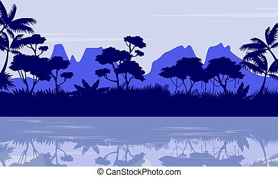 Silhouette of jungle with reflection scenery