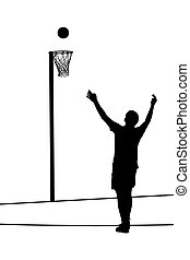 Silhouette of korfball men's league player attempting goal throw