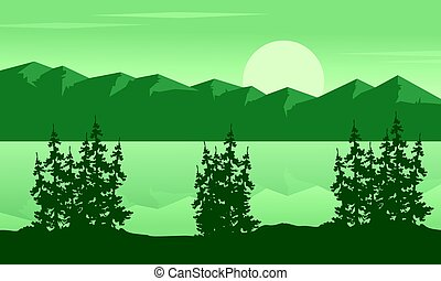 Silhouette of lake with mountain landscape