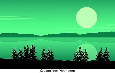 Silhouette of lake with spruce landscape
