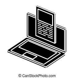 silhouette of laptop computer with document isolated icon