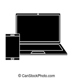 silhouette of laptop computer with smartphone