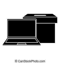 silhouette of laptop with ballot box isolated icon