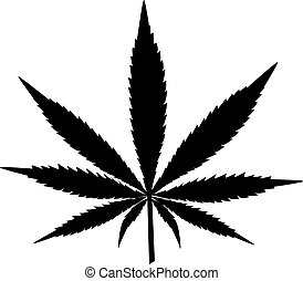 Silhouette of leaf of cannabis
