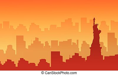 Silhouette of liberty with building at sunset